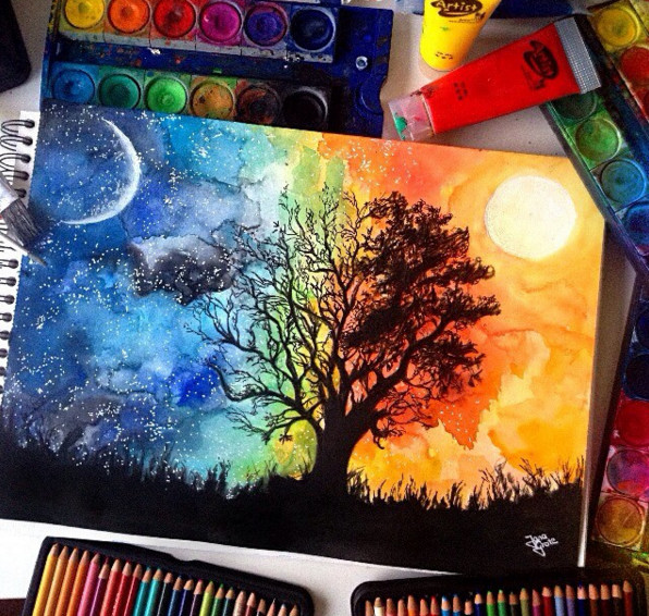 9 dibujos fant sticos hechos con l pices de acuarela que for Painting with nature items